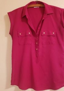 New York & Company Sleeveless Flowy Button Blouse